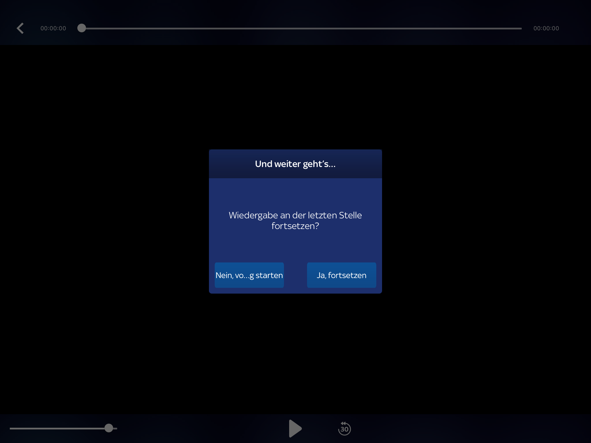 Sky Ticket continuing playback screen